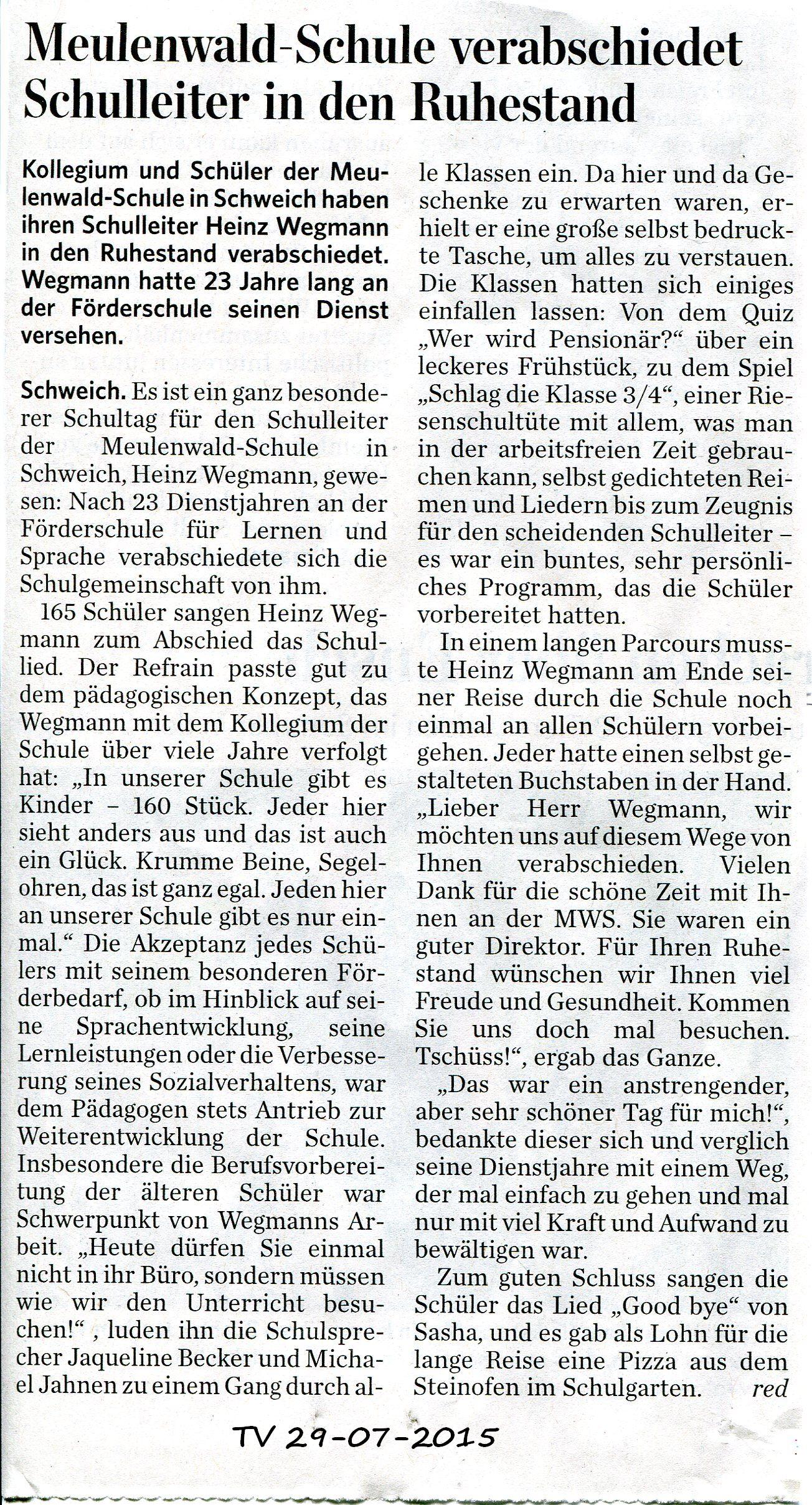 Wegmann Ruhestand Artikel